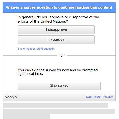 Google Survey in the Wild