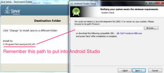 Java JDK path for Android Studio