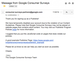 Google Surveys Denial
