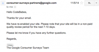 Surveys Account Re-instated